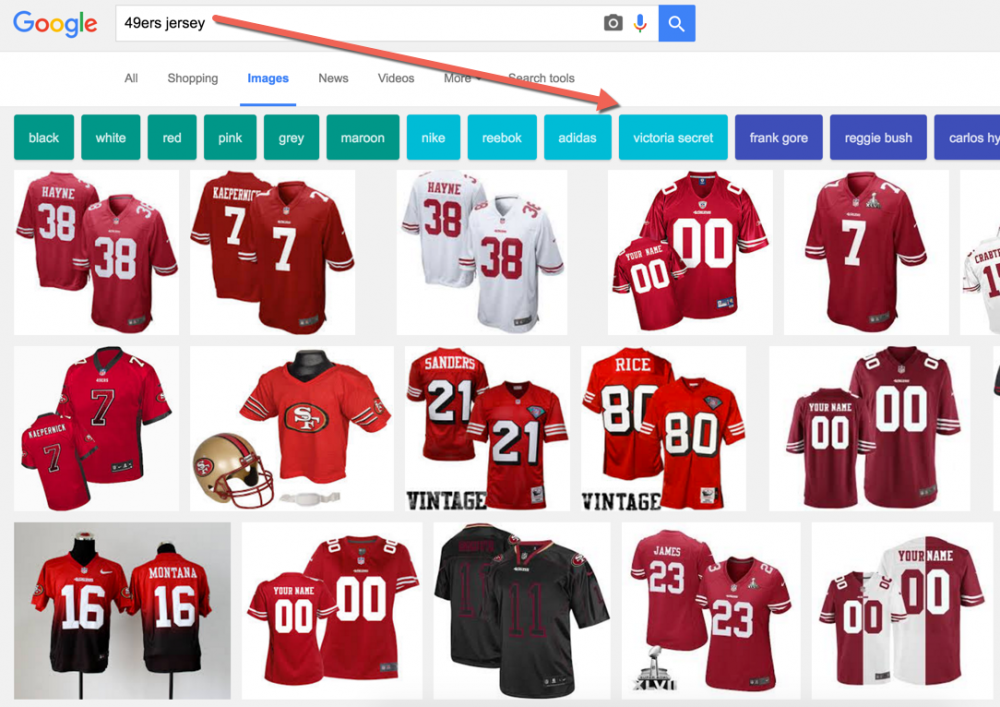 49ers jersey google image search with Victoria Secret as filter