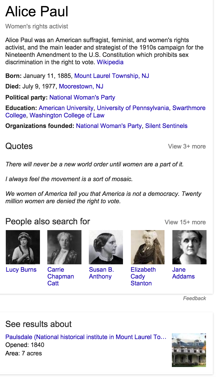 Google knowledge graph example of how to ramp up searches