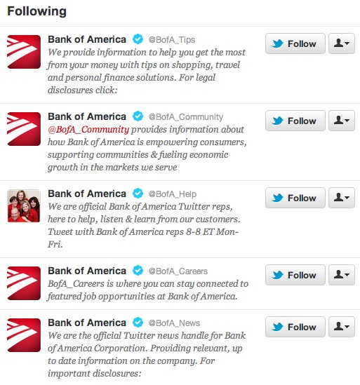 Bank of America Twitter Accounts