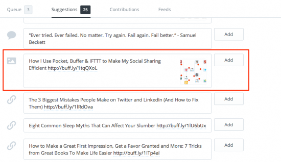 Buffer suggested posts