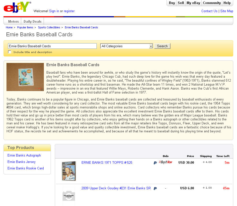 Ernie Banks Baseball Cards popular page