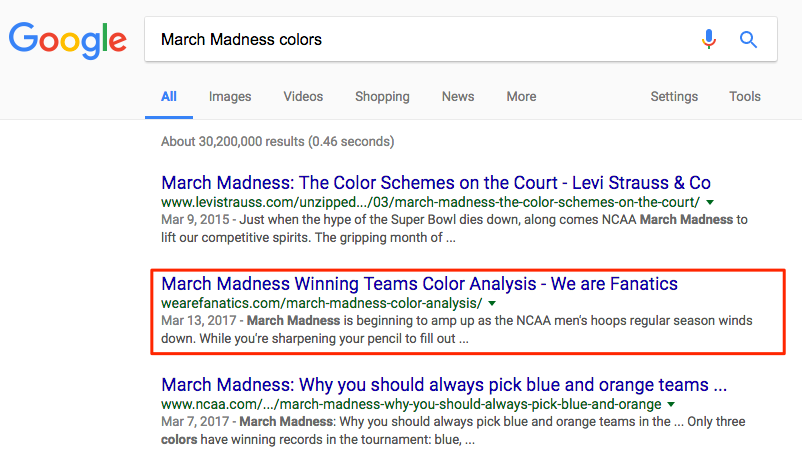 Fanatics March Madness color ranking position2