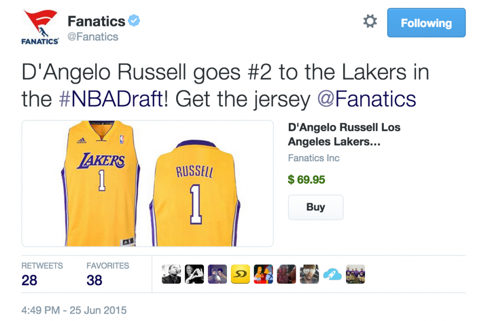Fanatics Tweet for NBA Draft Lakers jersey with buy button