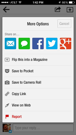 Flipboard easy sharing to Pocket