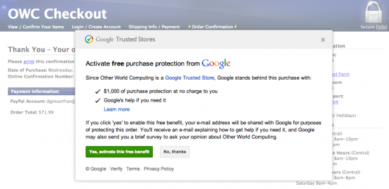 Google Purchase Protection program