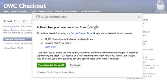 Google Purchase Protection program