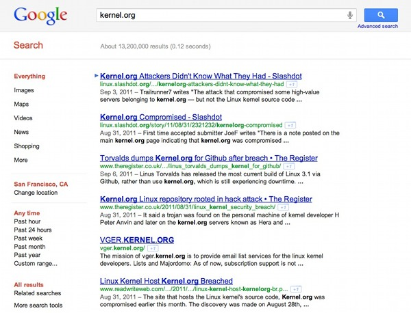 Google SERP, Kernel.org removed
