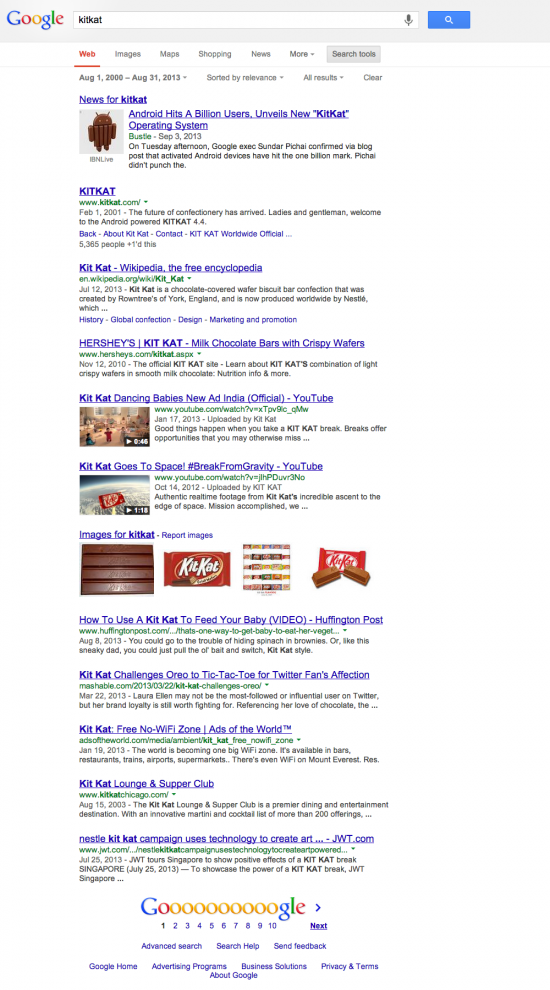 KitKat Search Results before the Android announcement