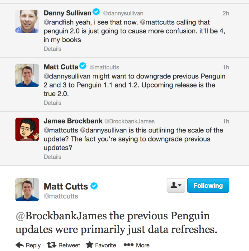Matt Cutts fro Google Tweets about Penguin 2.0