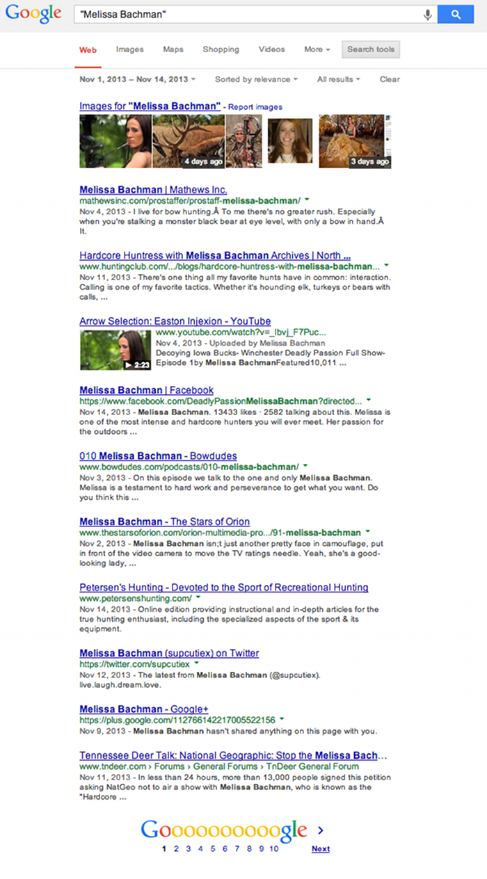 Melissa Bachman not yet killing a lion Google SERP