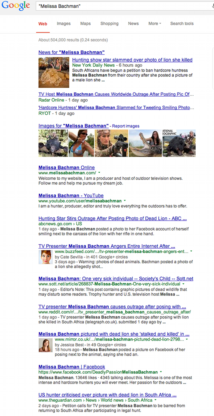 Melissa Bachman killing a lion search results