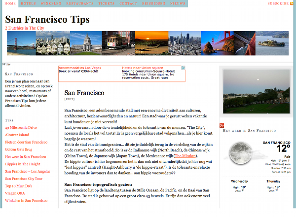 San Francisco Tips a website for the Dutch traveler to San Francisco