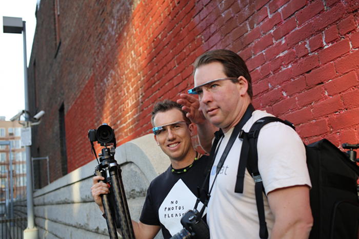 Thomas Hawk & Trey Ratcliff posing with Google Glass at the SF Photowalk