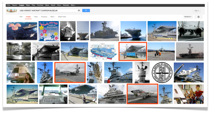USS Hornet carrier pictures ranking in SERP