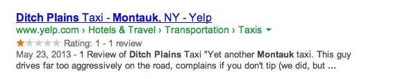 Yelp one star review snippet