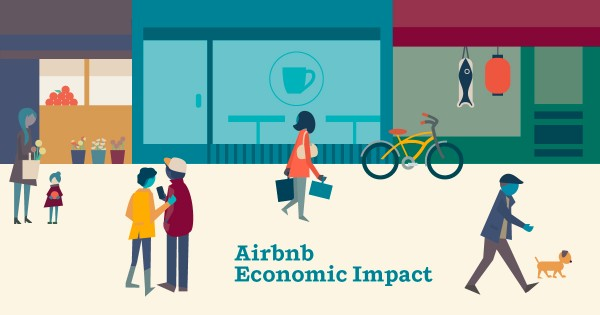Airbnb economic impact infographic. Showing traveler econmic impact on local economies in cities around the world.