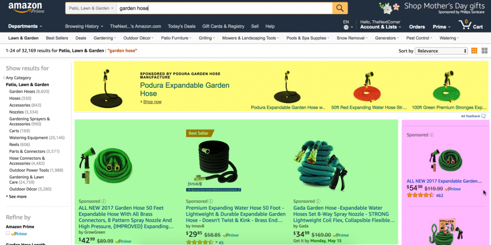 amazon only ads above fold