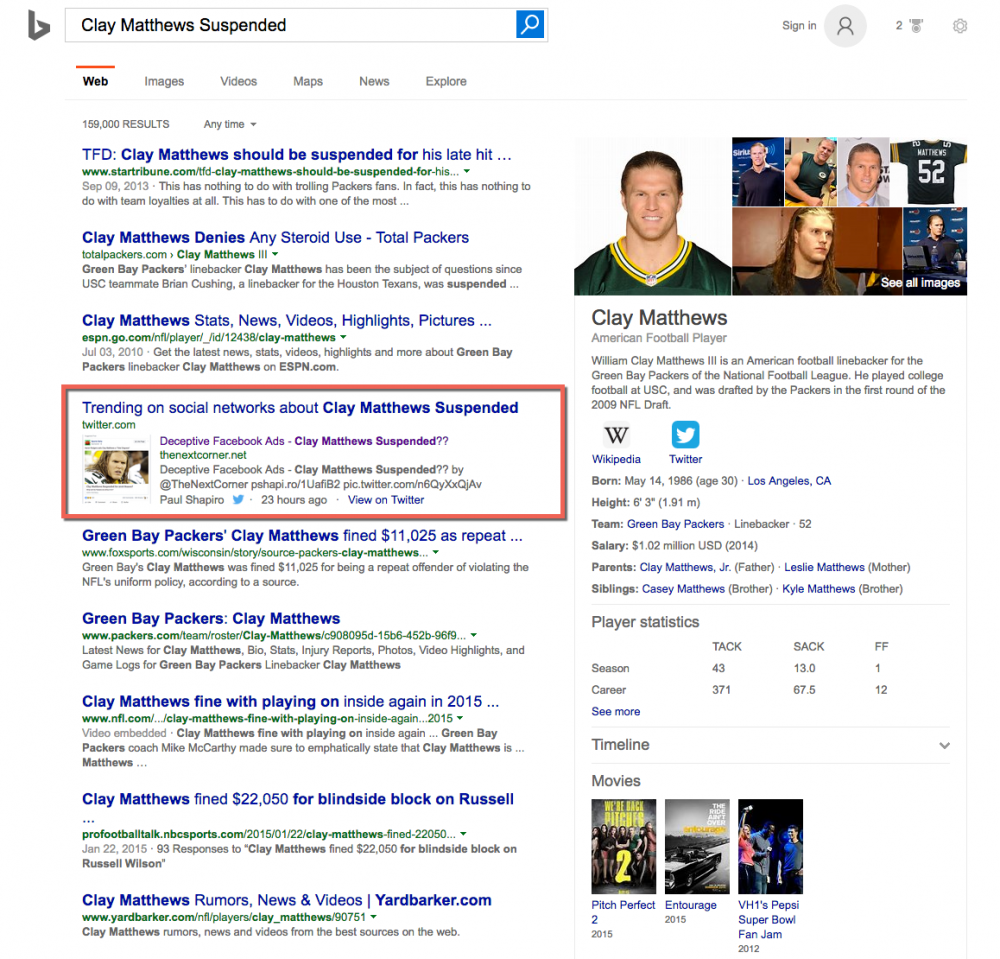 Bing SERP showing trending posts on Twitter for Clay Matthews Suspended