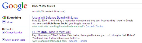 Bob Rains Sucks SERP #1 ranking