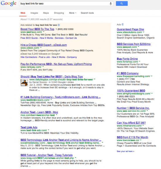 But text links for SEO SERP with crap SEO ads