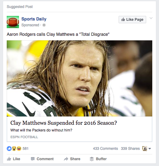Clay Matthews Facebook deceptive ad