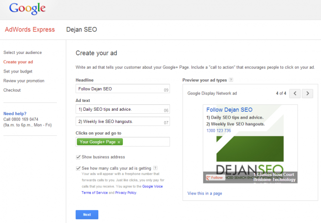 Google+ advertisement source by DejanSEO