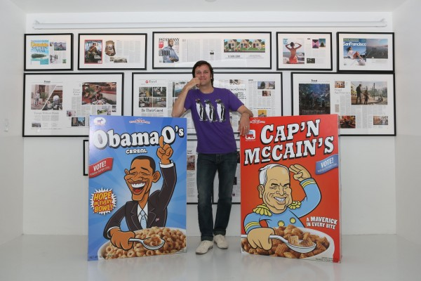 Dennis Goedegebuure in between the Airbnb Cereal boxes, Obama O's & Cap'n McCain's
