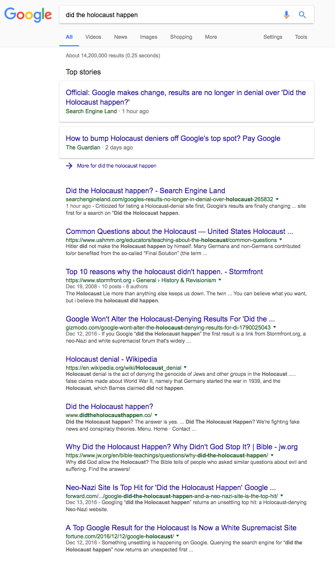 Did the holocaust happened Google search results