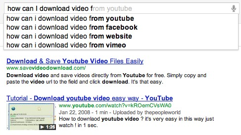 Download YouTube video in Google Search Suggest