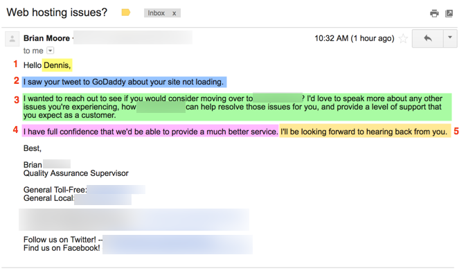 effective acquisition email Twitter complaint