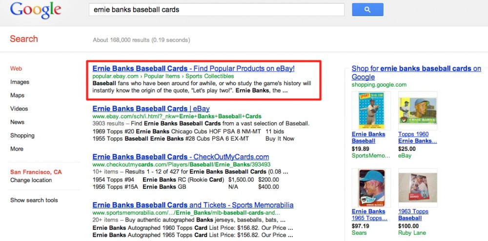 Ernie Banks Baseball Cards page ranking #1 & #2 for eBay