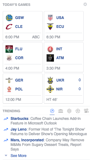 Facebook showing me todays sports games