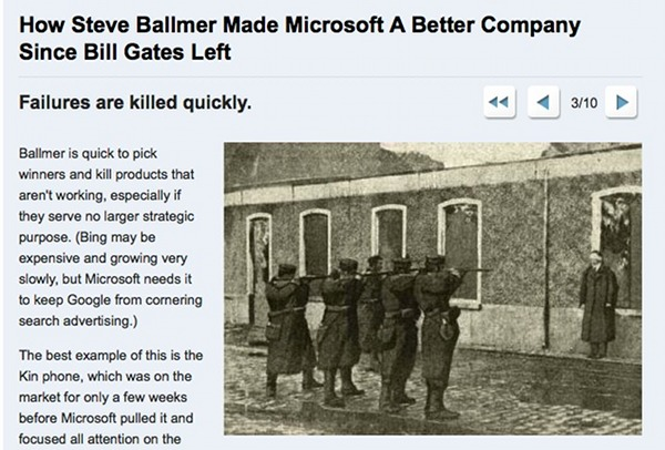 Business Insider: Microsoft killing failed projects like a firing squat killing a man