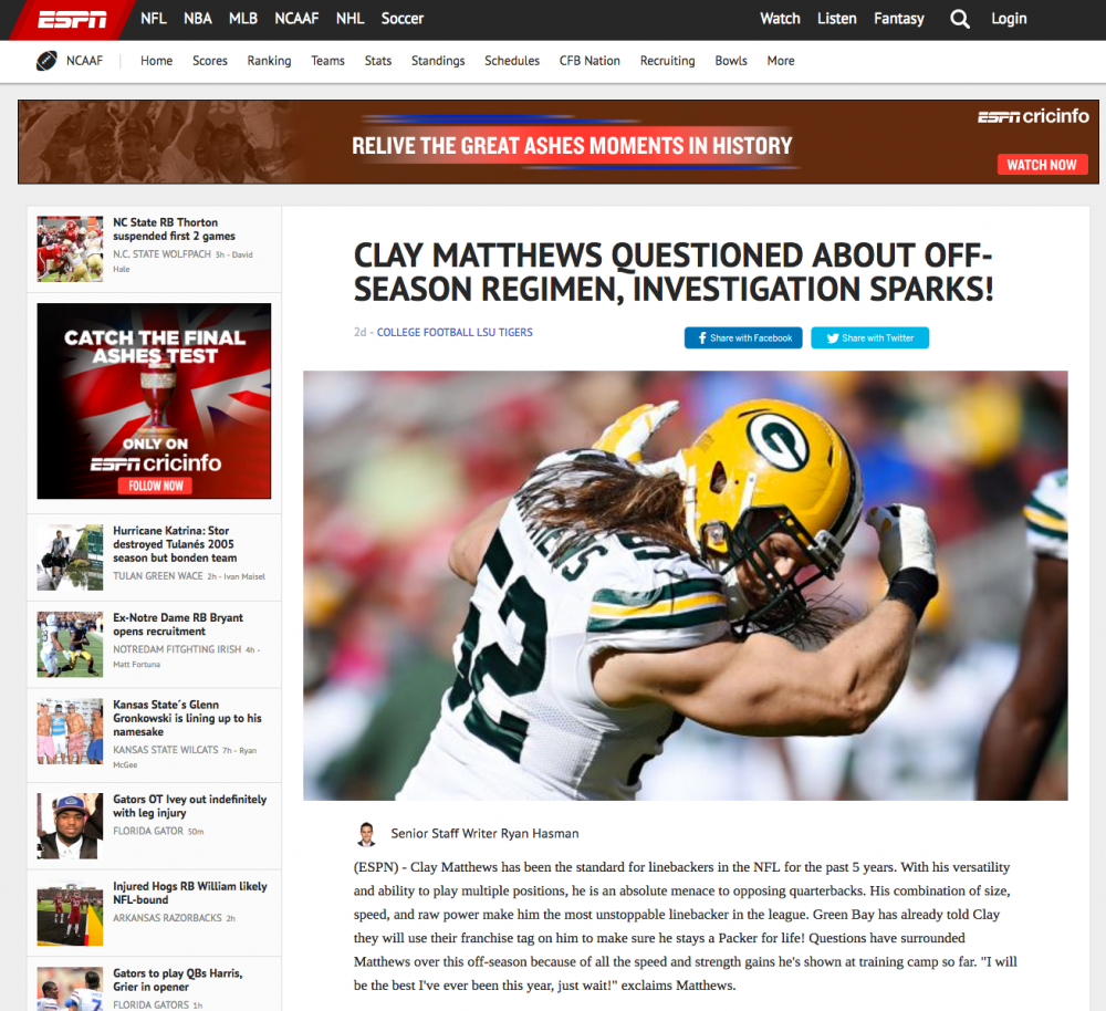 fake ESPN article Clay Matthews suspended