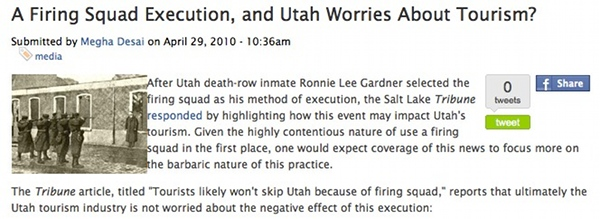 Utah tourism impacted by execution through firing squad