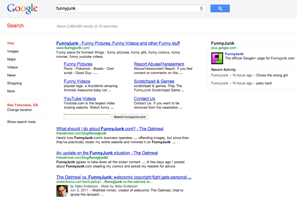 FunnyJunk search on Google shows 2 Oatmeal pages ranking #2 & #3