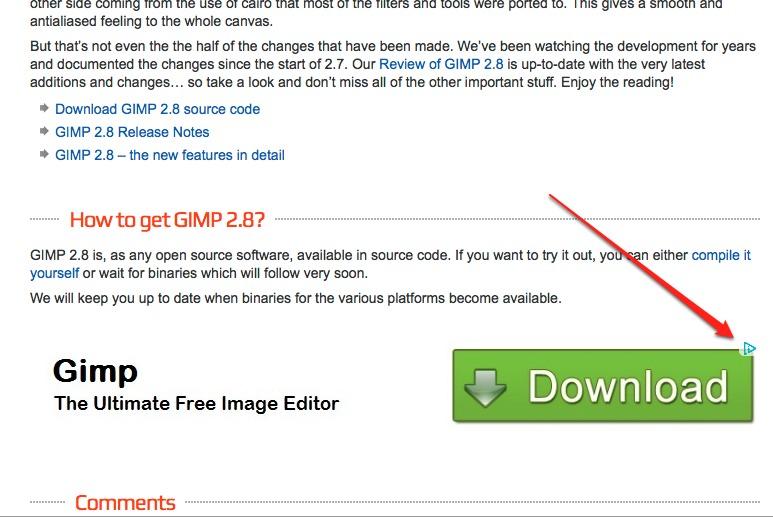 Huge Ad for Gimp Download
