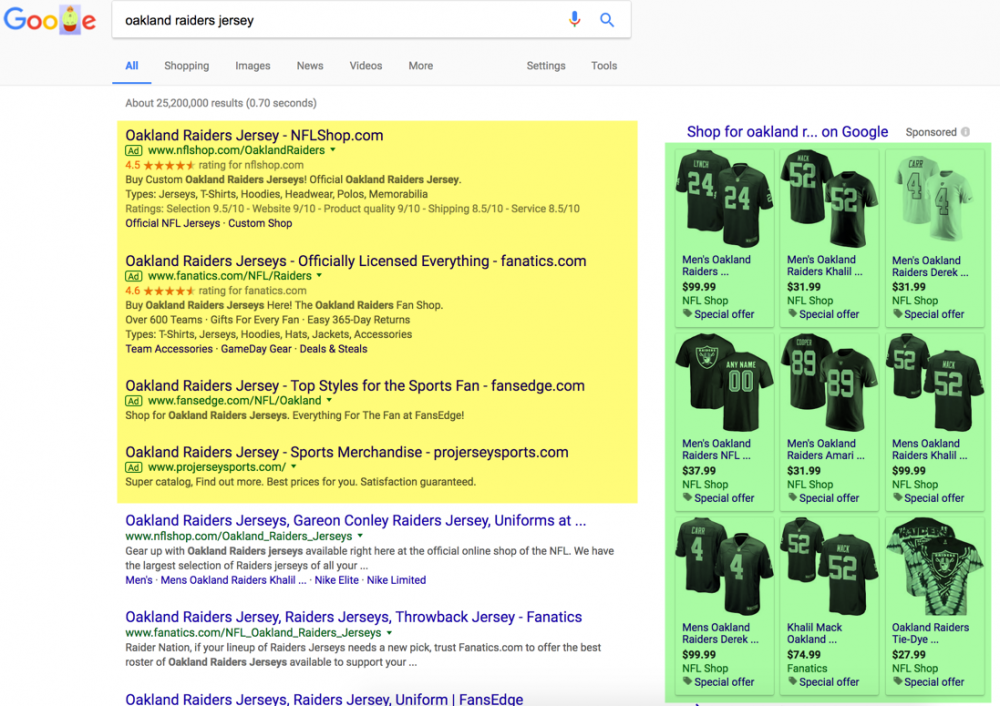 Oakland Raiders jersey search - more ads