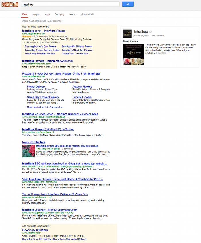 Interflora search results. No Martin McDonald anymore..? Where has this post gone?