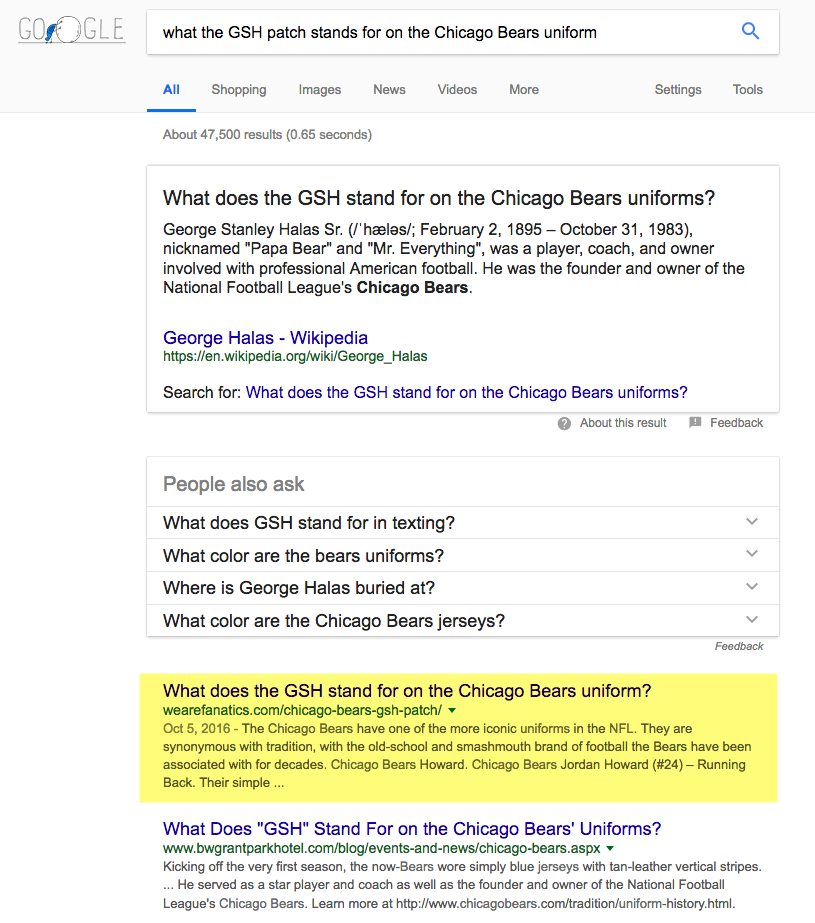 SERP position GSH Chicago Bears blog post