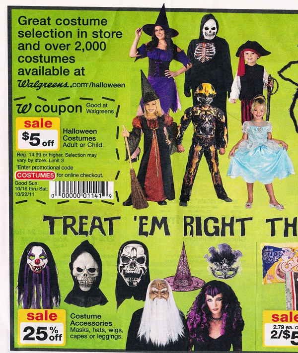 Halloween costumes on sale advertisements