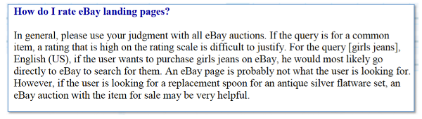 How to rate eBay landing pages?