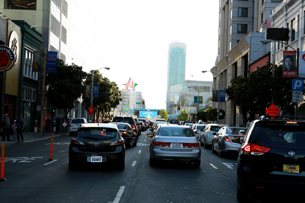 Howard street full with traffic because of the Dreamforce conference