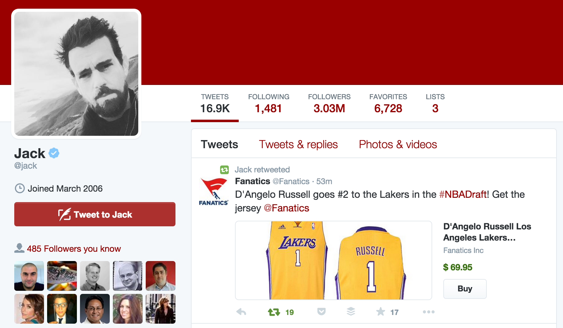 Jack Dorsey retweeted our tweet for NBA Draft