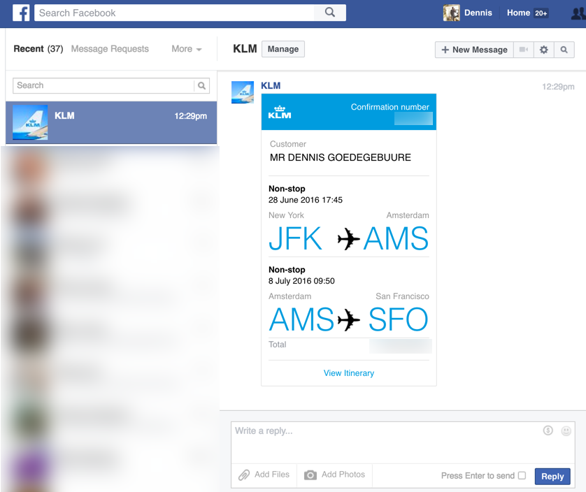 KLM Facebook messenger chatbot