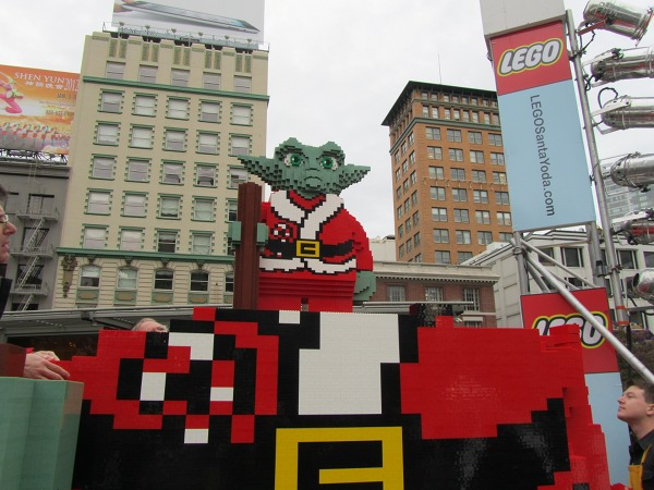 Giant Yoda as Santa from Lego on Union Square in San Francisco