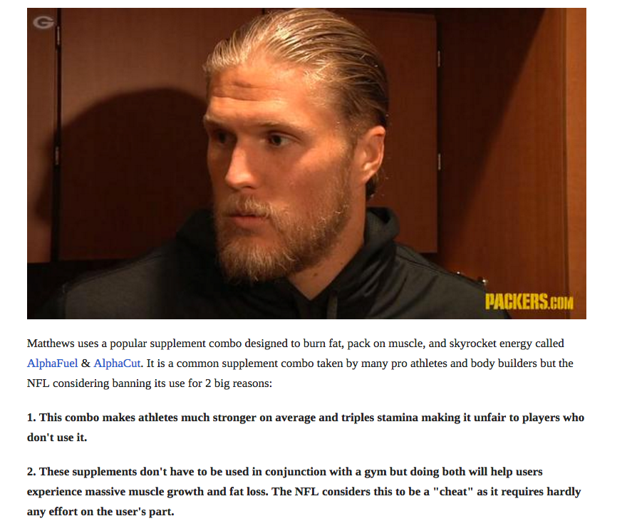 popular supplement combo Clay Matthews