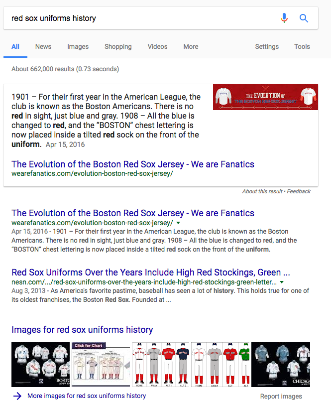Red Sox uniform history featured snippet