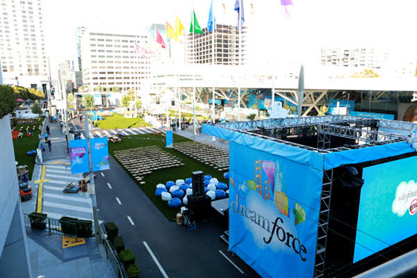 Two podiums middle of Howard street for SalesForce Dreamforce 2012 conference
