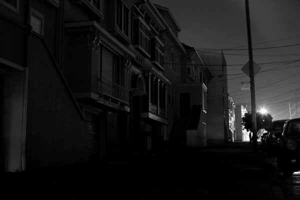 Power outage in San Francisco. Blacked-out houses in Black & White
